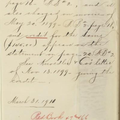 Memorandum prepared by Henry Clay Frick's office, 31 March 1911