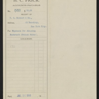 Voucher from Henry Clay Frick to C.B. Richard & Co., 26 July 1910