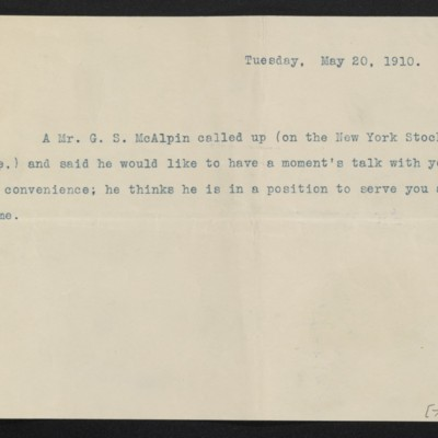 Copy of cable from [Henry Clay Frick] to [?], 20 May 1910