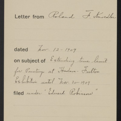 Memorandum, Office of Henry Clay Frick, 11 November 1909