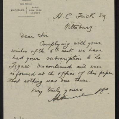 Letter from M. Knoedler & Co. to Henry Clay Frick, 16 June 1905