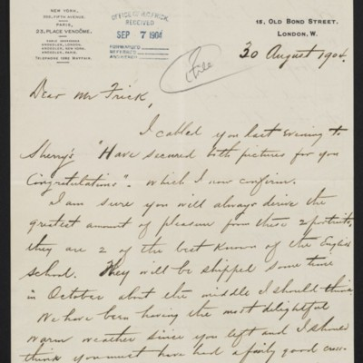 Letter from Charles S. Carstairs to Henry Clay Frick, 30 August 1904 [page 1 of 2]