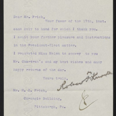 Letter from Roland F. Knoedler to Henry Clay Frick, 19 December 1896