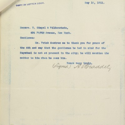 Letter from A. Braddel to E. Gimpel & Wildenstein, 10 May 1911