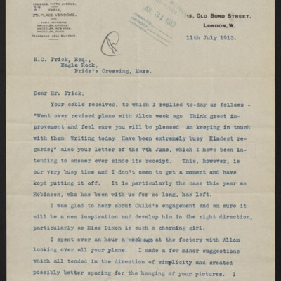 Letter from Charles S. Carstairs to Henry Clay Frick, 11 July 1913