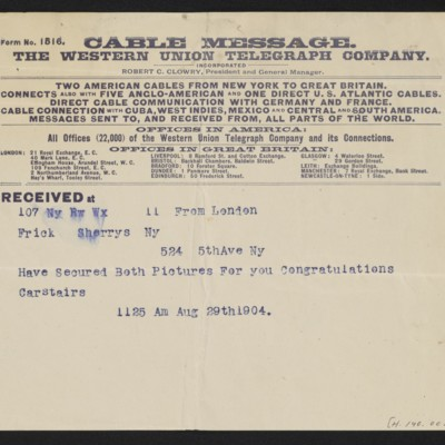Cable from [Charles S.] Carstairs to [Henry Clay] Frick, 29 August 1904