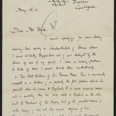 Letter from Roger E. Fry to Henry Clay Frick, 16 May 1911