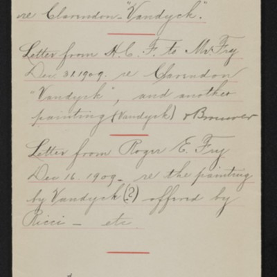 Envelope for correspondence between Roger E. Fry and Henry Clay Frick, circa 1910