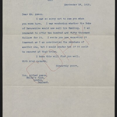 Letter from [Henry Clay Frick] to Alfred Anson, 24 September 1915
