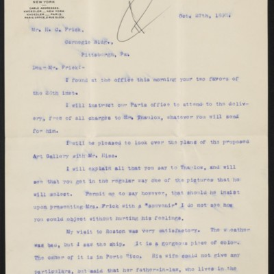 Letter from Roland F. Knoedler to Henry Clay Frick, 27 October 1898