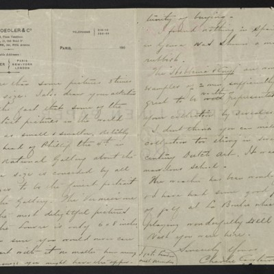 Letter from Charles Carstairs to [Henry Clay] Frick, 3 November 1908 [page 3 of 3]