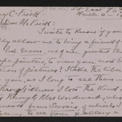 Letter from Emily Palmer Cape to Henry C. Frick, 4 March 1918 [page 1 of 3]
