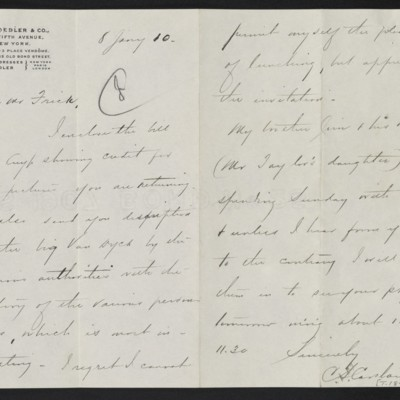 Letter from C.S. Carstairs to [Henry Clay] Frick, 8 January 1910