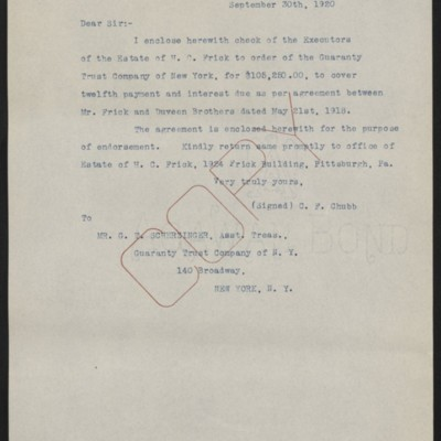Letter from C.F. Chubb to G.T. Scherzinger, 30 September 1920