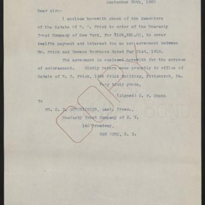 Letter fromC.F. Chubbto G.T. Scherzinger, 30 September 1920