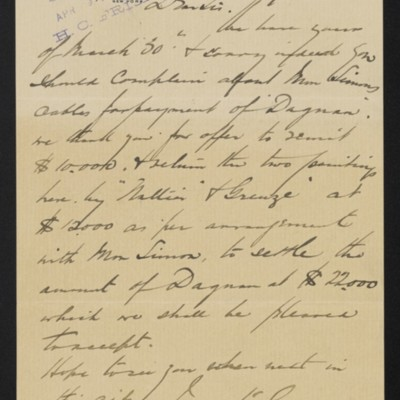 Letter from Arthur Tooth & Sons to Henry Clay Frick, 8 April 1901 [front]
