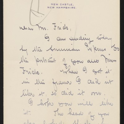 Letter from Edmund C. Tarbell to [Henry Clay] Frick, 16 October 1911