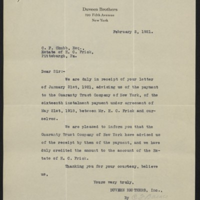 Letter from Duveen Brothers to C.F. Chubb, 2 February 1921