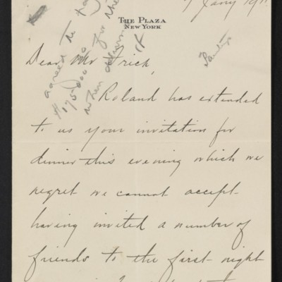 Letter from C.S. Carstairs to [Henry Clay] Frick, 7 January 1911 [page 1 of 2]