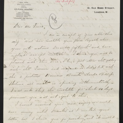 Letter from Charles S. Carstairs to Henry Clay Frick, 3 July 1908 [page 1 of 2]