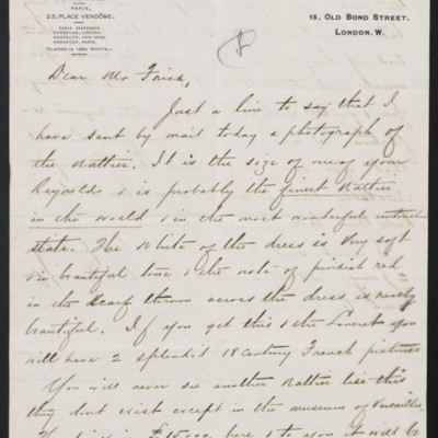 Letter from Charles S. Carstairs to Henry Clay Frick, 18 November 1908