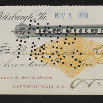 Check from Henry Clay Frick to M. Knoedler & Co., 3 November 1899 [front]