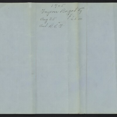 Invoice from Farjeon, Bagot & Co. to M. Knoedler & Co., 7 October 1905 [back of page 2]