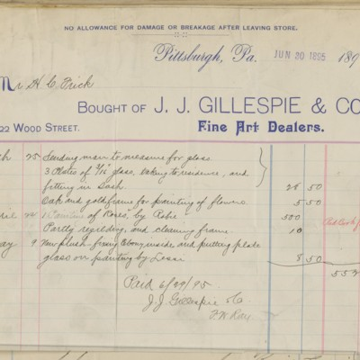 J.J. Gillespie & Co. Invoice, 30 June 1895