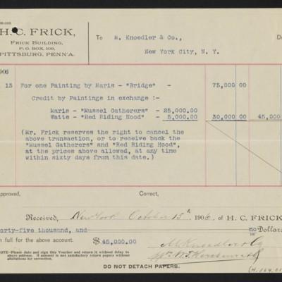 "Voucher to M. Knoedler & Co. for Maris' ""The Bridge,"" 13 October 1906 [back]"