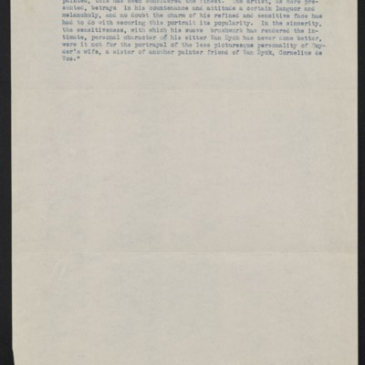 """Information about Van Dyck's """"Portrait of Frans Snyders,"""" circa 1909 [page 1 of 2]"""