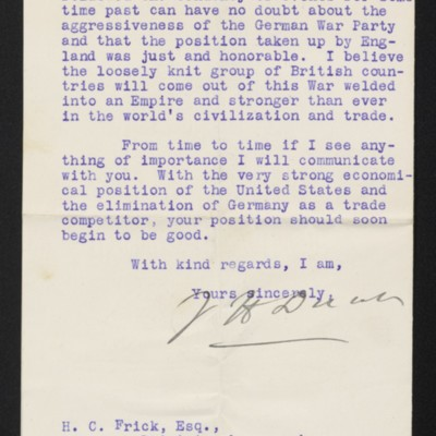 Letter from J.H. Dunn to H.C. Frick, 17 August 1914 [page 2 of 2]