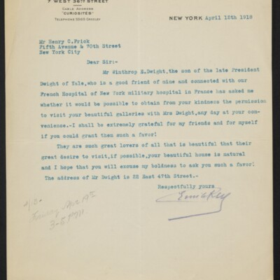 Letter from Emile Rey to Henry C. Frick, 12 April 1918