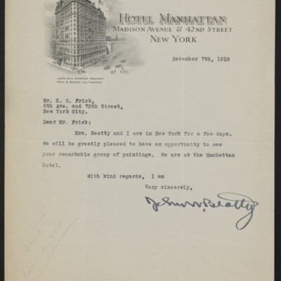 Letter from John W. Beatty to H.C. Frick, 7 December 1918