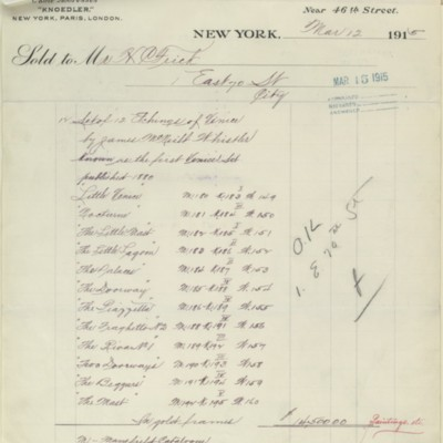 M. Knoedler & Co. Invoice, 12 March 1915