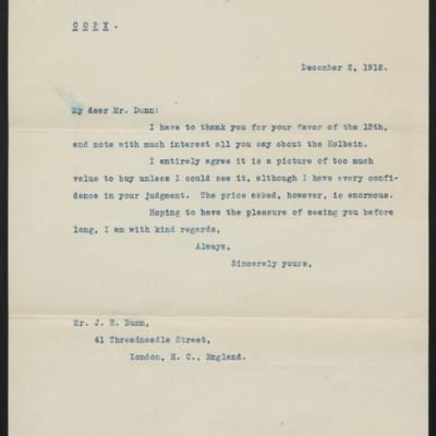 Letter from [H.C. Frick] to J. H. Dunn, 2 December 1912
