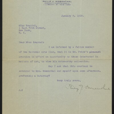 Letter from Philip J. Mosenthal to [Alice] Braddel, 8 January 1918