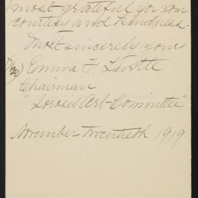 Letter from Emma F. Turtle to [H.C.] Frick, 20 November 1919 [page 4 of 4]