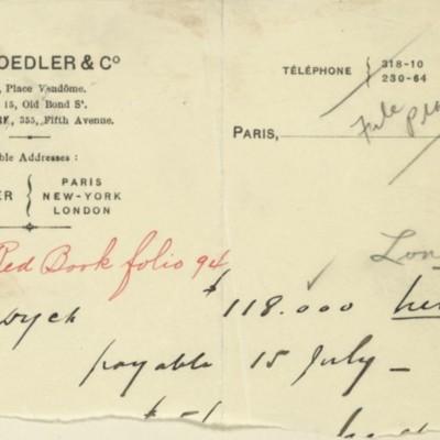 Memorandum prepared by M. Knoedler & Co., [10 June 1909]