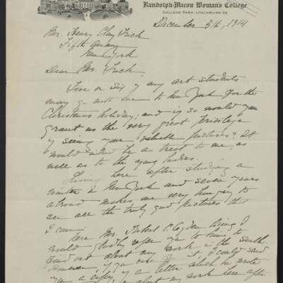 Letter from Louise J. Smith to Henry C. Frick, 5 December 1914 [page 1 of 2]