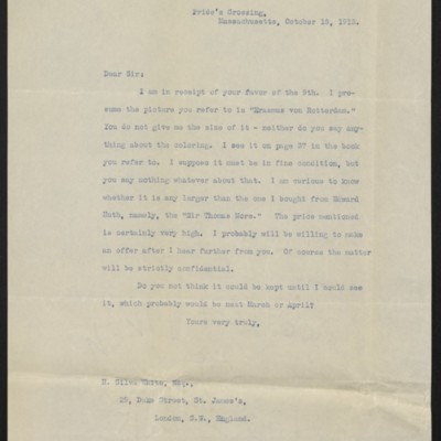 Copy of a letter from H.C. Frick to H. Silva White, 18 October 1912