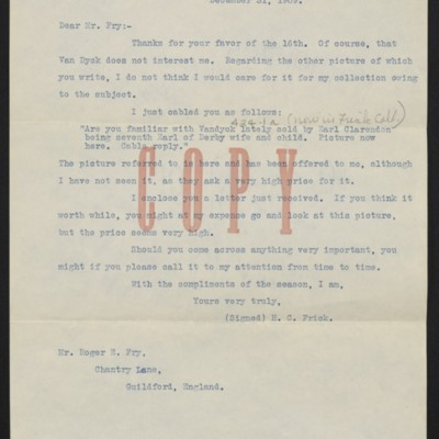 Copy of a letter from Henry Clay Frick to Roger E. Fry, 31 December 1909