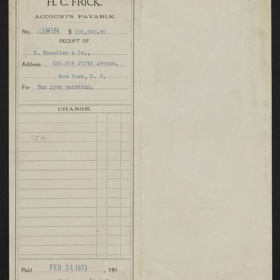 """Voucher to M. Knoedler & Co. for Van Dyck's """"Portrait of James Stanley,"""" 24 February 1913 [front]"""