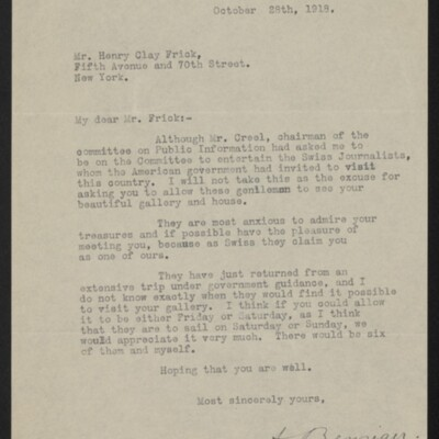 Letter from A. Benziger to Henry Clay Frick, 28 October 1918