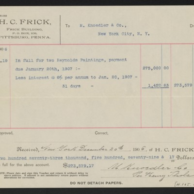 Voucher to M. Knoedler & Co. for two Reynolds paintings, 19 December 1906 [back]