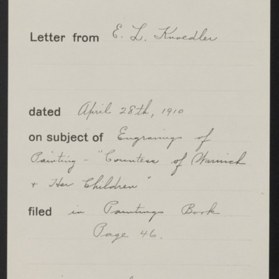 Memorandum, Office of Henry Clay Frick, 28 April 1910