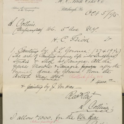 S. Collins Invoice, 5 October 1895