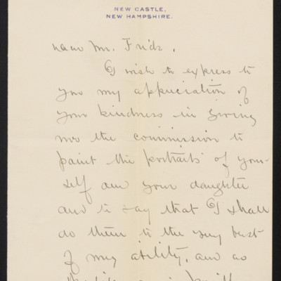 Letter from Edmund C. Tarbell to [Henry Clay] Frick, circa September 1910