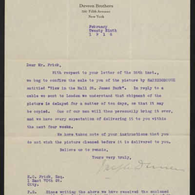 Letter from Joseph Duveen to Henry Clay Frick, 29 February 1916