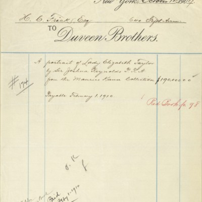 Duveen Brothers Invoice, 14 October 1909