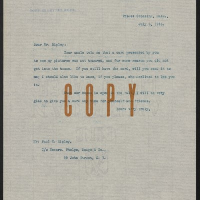 Letter from [H.C. Frick] to Paul M. Ripley, 6 July 1916